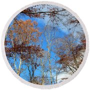Autumn Trees And Heaven Round Beach Towel