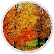 Autumn Trees By Barn Round Beach Towel