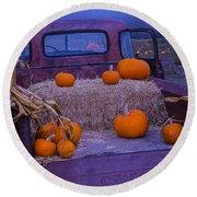 Autumn Truck Round Beach Towel