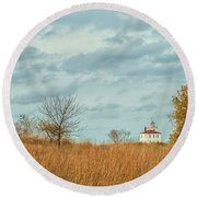 Autumn Twilight Pano Round Beach Towel