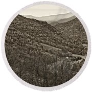 Autumn Valley Sepia Round Beach Towel
