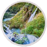 Autumn Valley Waterfalls Round Beach Towel