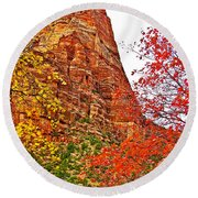 Autumn View Along Zion Canyon Scenic Drive In Zion National Park-utah Round Beach Towel