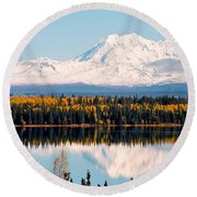 Autumn View Of Mt. Drum - Alaska Round Beach Towel