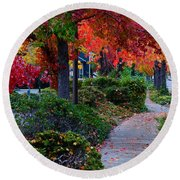 Autumn Walk In Grants Pass Round Beach Towel