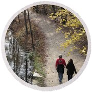 Autumn Walk On The C And O Canal Towpath Round Beach Towel