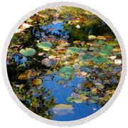 Autumn Water Lily Reflections  Round Beach Towel