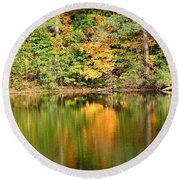 Autumn Watercolor Reflections Round Beach Towel