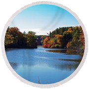 Autumn Waterway Round Beach Towel