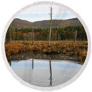 Autumn Wetlands Round Beach Towel