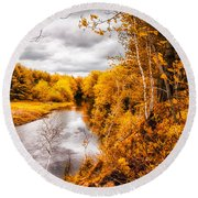 Autumn White Mountains Maine Round Beach Towel