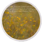 Autumn Wildflowers W Quote Round Beach Towel
