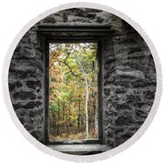 Autumn Within Cunningham Tower - Historical Ruins Round Beach Towel by Gary Heller