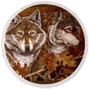 Autumn Wolves Round Beach Towel