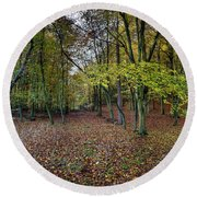 Autumn Woodland Round Beach Towel