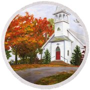 Autumn Worship Round Beach Towel
