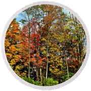 Autumnal Foliage Round Beach Towel