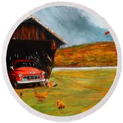 Autumnal Restful View-farm Scene Paintings Round Beach Towel