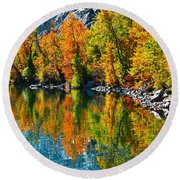 Autumn's Beauty Reflected Round Beach Towel