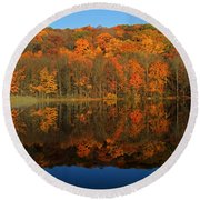 Autumns Colorful Reflection Round Beach Towel