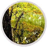 Autumn's First Reflections II Round Beach Towel