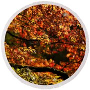 Autumn's Glory Round Beach Towel by Anne Gilbert