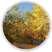Autumn's Golden Pond Round Beach Towel