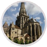 Autun Cathedral View Burgundy Round Beach Towel