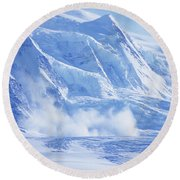 Avalanche At A Distance Round Beach Towel