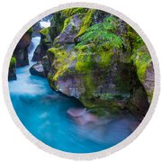 Avalanche Creek Gorge Round Beach Towel