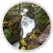 Avalanche Creek In Glacier Np-mt Round Beach Towel