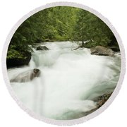 Avalanche Creek In Spring Run Off Round Beach Towel