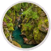 Avalanche Gorge In September Round Beach Towel