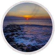 Avalon New Jersey Sunrise Round Beach Towel