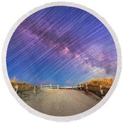 Avalon Star Trails  Round Beach Towel
