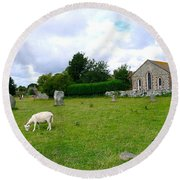 Avebury Stones And Sheep Round Beach Towel
