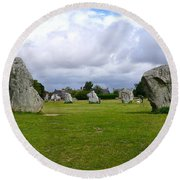 Avebury's Southern Entrance Stones Round Beach Towel