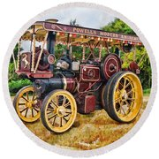 Aveling And Porter Showmans Tractor Round Beach Towel