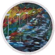 Avenue Of Shadows Round Beach Towel
