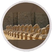 Avenue Of Sphinxes Round Beach Towel