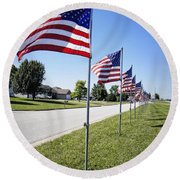 Avenue Of The Flags Round Beach Towel