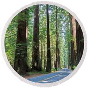 Avenue Of The Giants Round Beach Towel