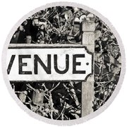 Avenue Sign Round Beach Towel