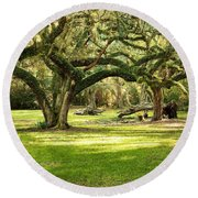 Avery Island Oaks Round Beach Towel