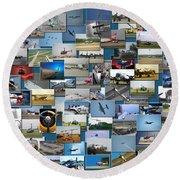 Aviation Collage Round Beach Towel