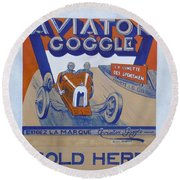 Aviator Goggle Sold Here Poster Round Beach Towel