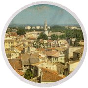 Avignon From Les Roches Round Beach Towel