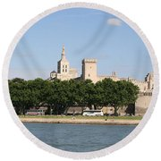 Avigon View From River Rhone Round Beach Towel