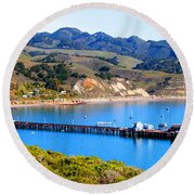 Avila Beach California Fishing Pier Round Beach Towel