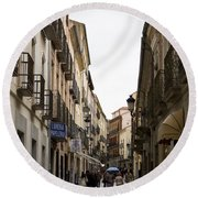 Avila Street Blue Umbrella Round Beach Towel